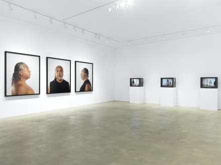 Installation view: James Luna: <em>Take a Picture with a Real Indian</em>, Garth Greenan Gallery, New York, 2020. Courtesy Garth Greenan Gallery.