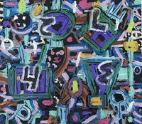 "Jay Milder, detail of ""Kabbalah 12"" (2005). Acrylic, oil, and aggregate on canvas, 50 x 56 inches. Courtesy of Lohin Geduld Gallery."