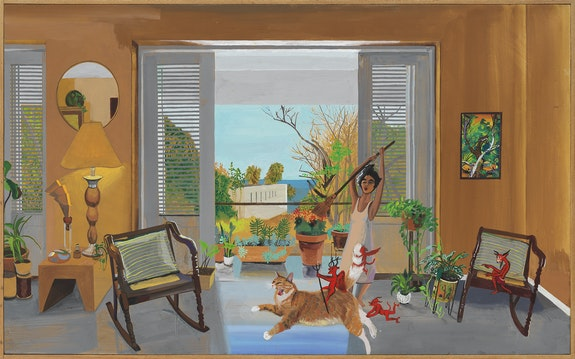 Hulda Guzmán, <em>The mischievous, </em>2020. Acrylic gouache on canvas in artist's frame, 29 1/2 x 48 inches. Courtesy Alexander Berggruen Gallery.