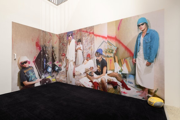 ART CLUB<em>2000</em>, <em>Kaputtmachen im Graz</em>, 1994. Printed vinyl, carpet, and boombox. Courtesy Artists Space. Photo: Filip Wolak.