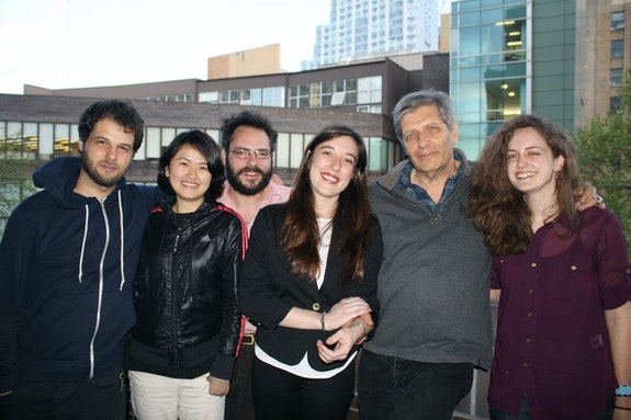 Lewis with Long Island University MFA students. Left to right: Tony Iantosca,  Chia-Lun Chang, Daniel Owen, Sarah Anne Wallen, Lewis, Lisa Rogal. Photo: John Casquarelli.