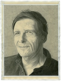 Portrait of Lewis Warsh, pencil on paper by Phong H. Bui.