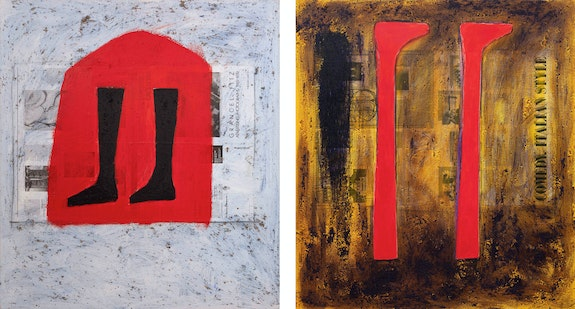 Left: Freddy Rodríguez, <em>Atrapado en Punzo</em>, 1986. 44 x 40 inches. Right: <em>El Cimarrón y la Comedia Divina</em>,  1986. 44 x 40 inches. Courtesy Hutchinson Modern & Contemporary, New york.