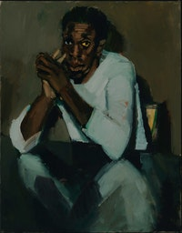 Lynette Yiadom-Boakye, <em>Few Reasons Left To Like You</em>, 2020. Oil on linen, 35 1/2 x 27 1/2 inches. Courtesy the artist, Corvi-Mora, London, and Jack Shainman Gallery, New York. Photo: Marcus Leith.