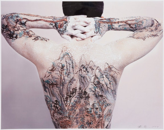 Huang Yan, <em>Chinese Shan-Shui (landscape)-Tattoo </em>(detail), 1999. 13 chromogenic prints, each: 47 1/4 x. 59 1/16 inches. Asia Society, New York. Photo: Synthescape © Huang Yan.