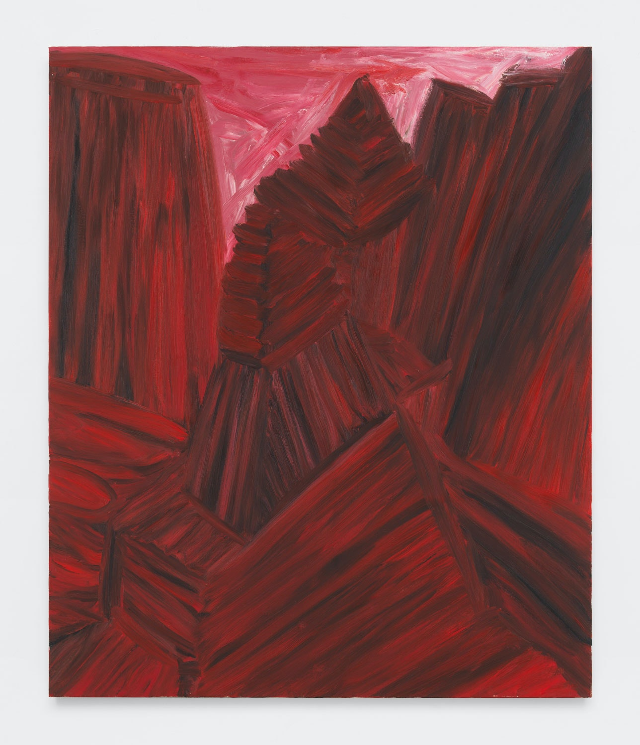 Martha Diamond, <em>Red Cityscape</em>, 1989. Oil on linen, 72 x 60 inches. Courtesy Magenta Plains.