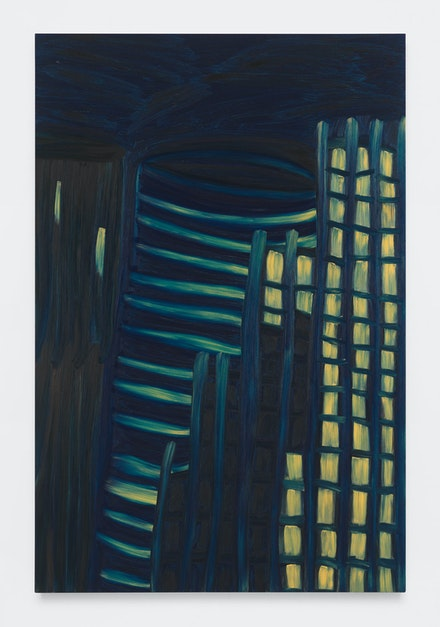 Martha Diamond, <em>Moonlight / City View #2</em>, 1981. Oil on linen, 84 x 56 inches. Courtesy Magenta Plains.