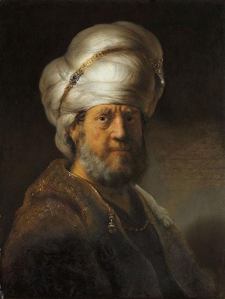 Rembrandt Harmensz van Rijn, <em>Half-length portrait of a man in oriental clothing </em>, 1635. Oil on oak, 28 1/3 x 21 1/2 inches. Courtesy Rijksmuseum Amsterdam, donation Mr. and Mrs. Kessler-Hülsmann, Kapelle-op-den-Bos.