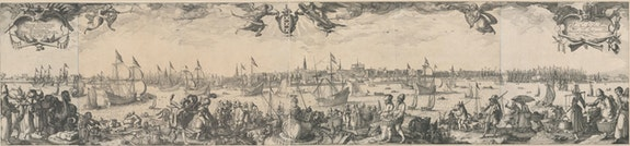 Claes Jansz Visscher II and Pieter Bast, <em>Panorama of Amsterdam as seen from the IJ</em>, 1611. Engraving and etching, 17 1/3 x 58 inches. Courtesy Rijksmuseum, Amsterdam, Rijksprentenkabinet.