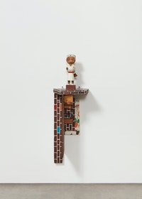 Haim Steinbach,<em> Shelf with Nurse</em>, 1983. Painted wood shelf; painted wood doll, 35 1/2 x 11 3/4 x 11 3/4 inches. Courtesy the artist and Tanya Bonakdar Gallery, New York / Los Angeles. Photo: Pierre Le Hors.