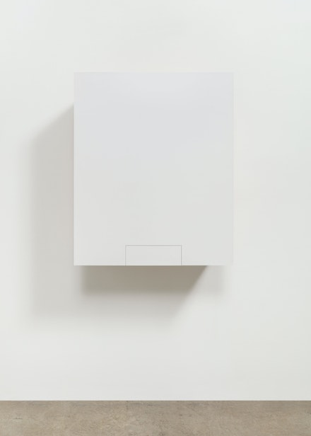 Haim Steinbach, <em>Untitled (box with handkerchief - Adi)</em>, 1993. Wood, plastic laminate, cloth, 36 x 30 x 14 inches. Courtesy the artist and Tanya Bonakdar Gallery, New York / Los Angeles. Photo: Pierre Le Hors.