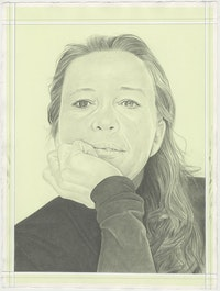 Portrait of Jenny Saville, pencil on paper by Phong H. Bui.
