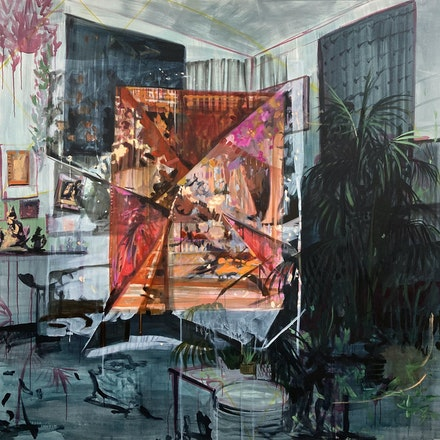 Elizabeth Schwaiger, <em>Doublethink</em>, 2020. Acrylic, watercolor, ink, and oil on canvas, 78 x 78 inches. Courtesy the artist and Jane Lombard Gallery.