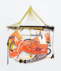 Rachel Eulena Williams,<em> Red Grey Clay</em>, 2020. Silkscreen on card, dye and acrylic paint on hammock, canvas, and cotton rope, 72 x 62 x 3 inches. Courtesy the artist and Canada, New York.