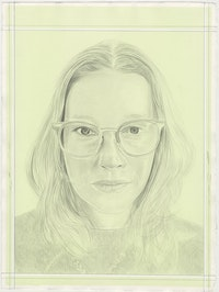 Portrait of Sarah Crowner, pencil on paper by Phong H. Bui.