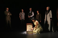 Pictured (l-r) Michael Crane as Vic Watts, Tobias Segal as The Young Man, Tom Nelis as Mr. Campani, de'Adre Aziza (kneeling) as Doris, Laura Heisler as King Ludwig II and David Chadler as Richard Wagner in a scene from the Playwrights Horizons production of <i>Doris to Darlene, A Cautionary Valentine</i>. Photo by Joan Marcus.