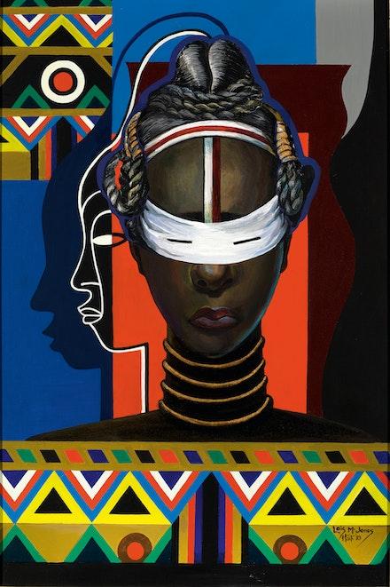 Loïs Mailou Jones, <em>Initiation Liberia</em>, 1983. Acrylic on canvas, 35 1/4 × 23 1/4 inches.Smithsonian American Art Museum, Washington, D.C., 2006.24.7. Bequest of the artist. Courtesy Loïs Mailou Jones Pierre-Noël Trust.