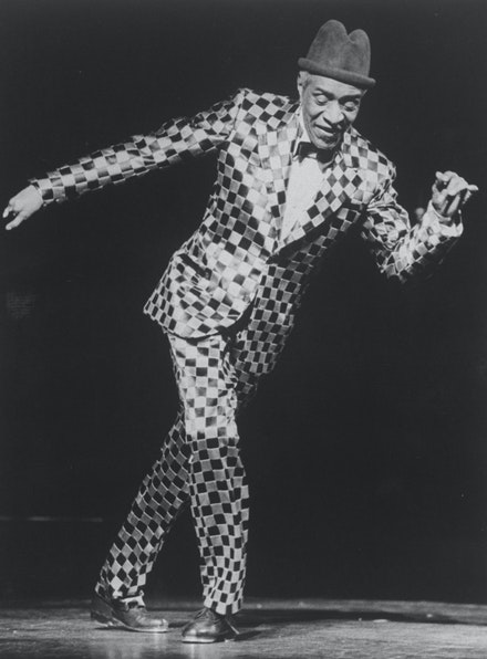 Jimmy Slyde in a scene from the Broadway production of the musical <em>Black And Blue</em>, 1988. Billy Rose Theatre Division, New York Public Library Digital Collections. Photo: Martha Swope.