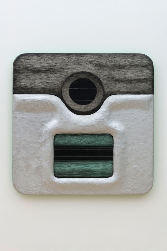 Tishan Hsu, <em>Closed Circuit II</em>, 1986. Acrylic, alkyd, Styrofoam, vinyl cement compound on wood 59 x 59 x 4 inches. Rubell Family Collection, Miami. © 2021 Tishan Hsu / Artists Rights Society (ARS), New York.
