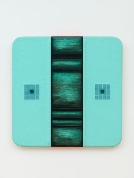 Tishan Hsu,<em> Reflexive Ooze</em>, 1987. Ceramic tile, vinyl cement compound, oil, acrylic, alkyd on wood 58.75 x 59 x 3.5 inches. High Museum of Art, Atlanta. Gift of Hillman R. Holland through the 20th Century Art Acquisition Fund in memory of Dr. Robert H. Brown. © 2021 Tishan Hsu / Artists Rights Society (ARS), New York.