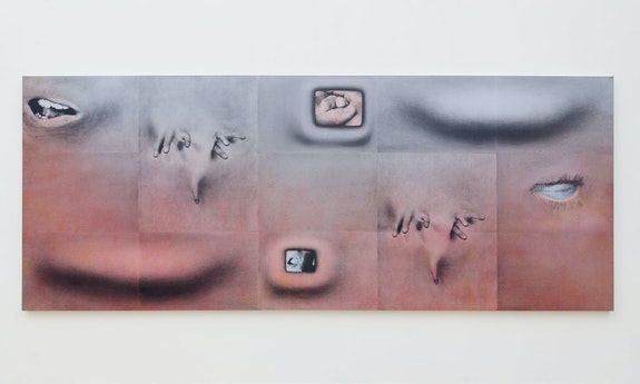 Tishan Hsu, <em>Fingerpainting</em>, 1994. Silkscreen ink, acrylic, on linen canvas. 71 x 177 inches. Courtesy the artist and Empty Gallery, Hong Kong. © 2021 Tishan Hsu / Artists Rights Society (ARS), New York.