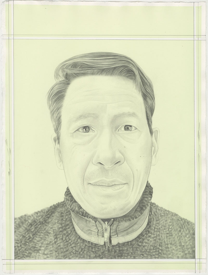 Portrait of Tishan Hsu, pencil on paper by Phong H. Bui