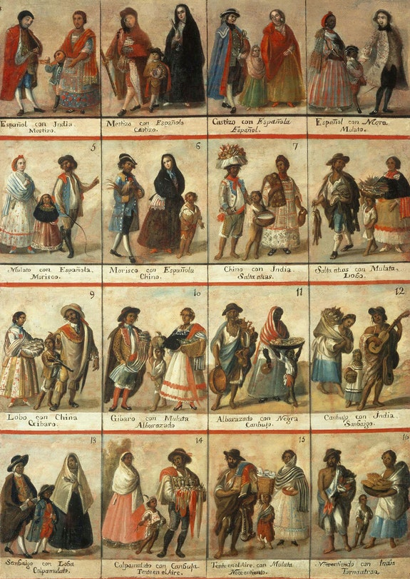<em>Casta</em> painting containing complete set of 16 casta combinations. Artist unknown, 18th century. Oil on canvas, 58 1/4 inches x 40 15/16 inches. Museo Nacional del Virreinato, Tepotzotlán, Mexico.