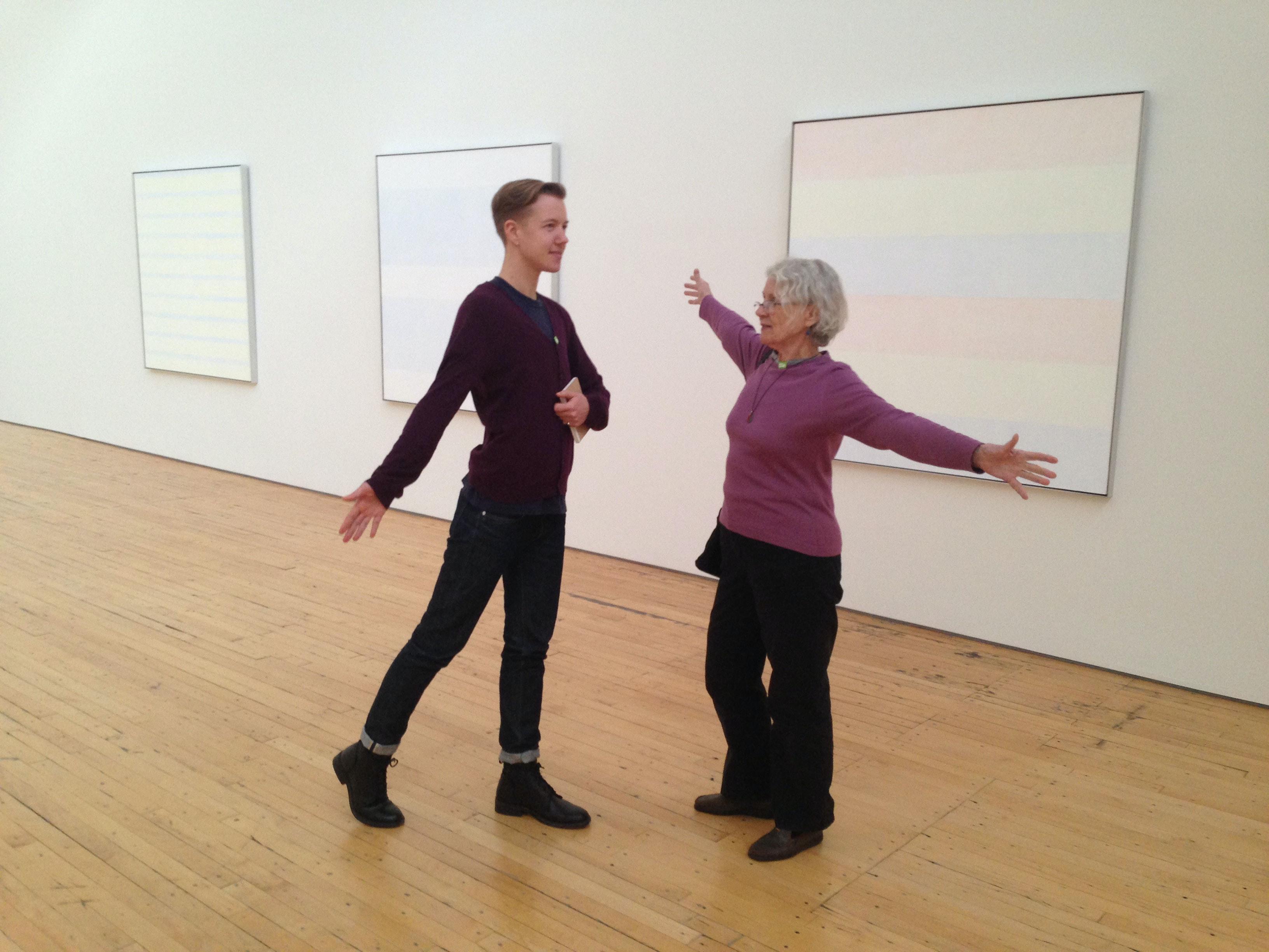 Jean Valentine and the author feeling into Agnes Martin, November 8, 2013 at Dia:Beacon. Photo: Timothy Dorsey.