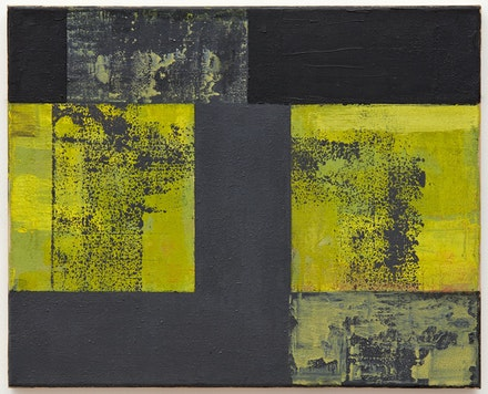 Helmut Federle, <em>Basics on Composition XXI (For Lee Harvey Oswald)</em>, 1992. Oil on canvas, 15 3/4 x 19 5/8 inches. Courtesy the artist and Peter Blum Gallery, New York. Photo: Jason Wyche.