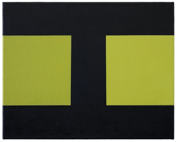 Helmut Federle, <em>Basics on Composition H (Eight)</em>, 2019. Oil on canvas, 15 3/4 x 19 3/4 inches. Courtesy the artist and Peter Blum Gallery, New York. Photo: Jason Wyche.