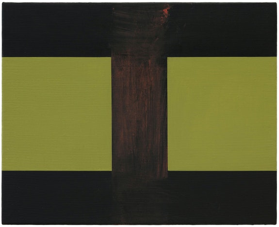 Helmut Federle, <em>Basics on Composition K (Spätherbst / Winteranfang) (Polarente) (Man of Nazareth) (Disruptive Elegance) (The Vail)</em>, 2019-20. Oil on canvas, 15 3/4 x 19 3/4 inches. Courtesy the artist and Peter Blum Gallery, New York. Photo: Jason Wyche.