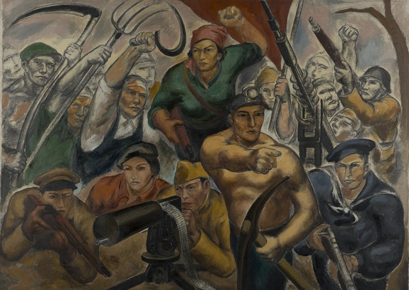 Eitarō Ishigaki, <em>Soldiers of the People's Front (The Zero Hour)</em>, ca. 1936–37. Oil on canvas, 58 1/2 × 81 1/2 inches. Courtesy the Museum of Modern Art, Wakayama, Japan. Reproduced with permission.
