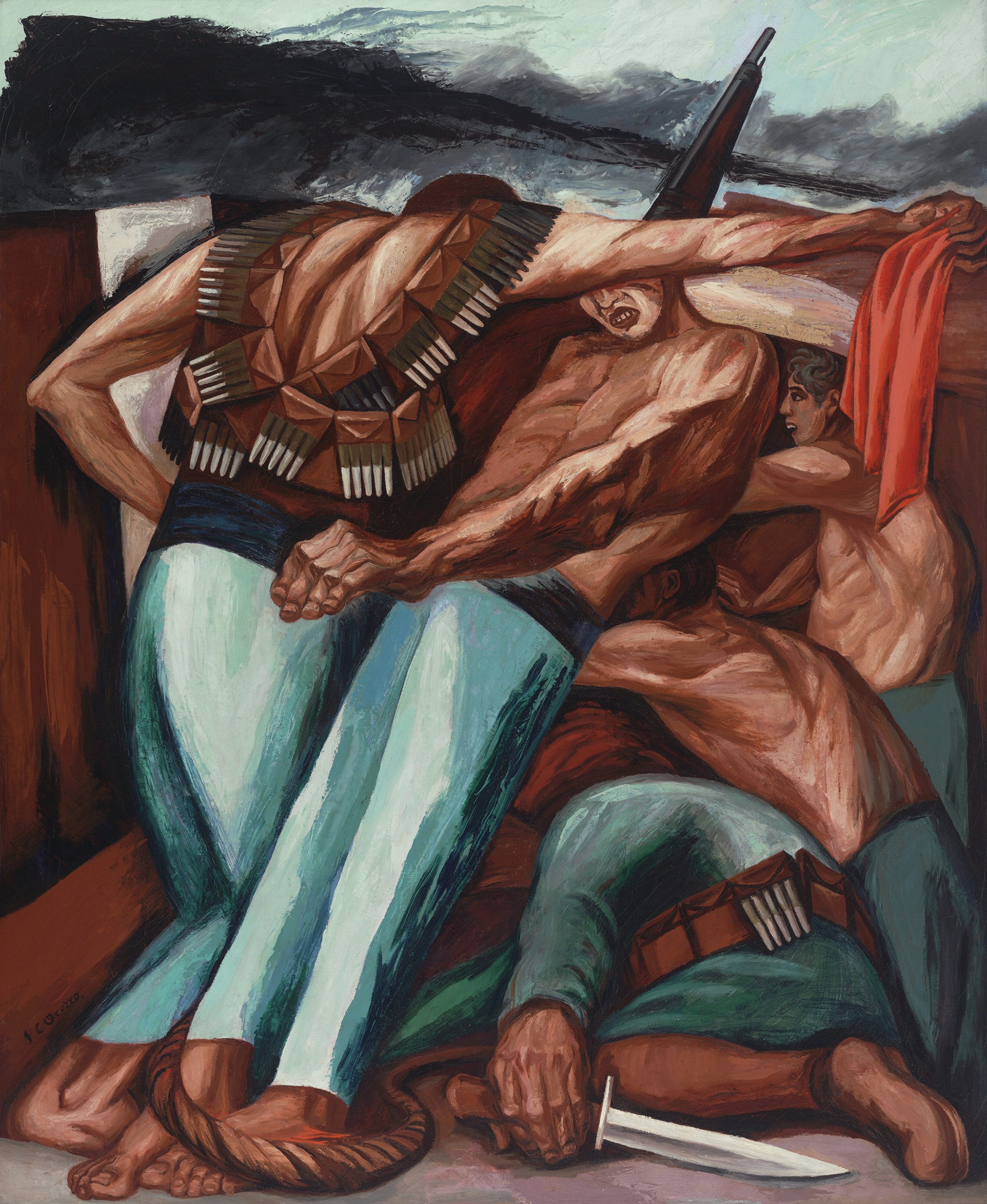 José Clemente Orozco, <em>Barricade (Barricada)</em>, 1931. Oil on canvas, 55 × 45 inches. Museum of Modern Art, New York; given anonymously. © 2019 Artists Rights Society (ARS), New York / SOMAAP, Mexico City. Image © The Museum of Modern Art / Licensed by SCALA / Art Resource, NY.