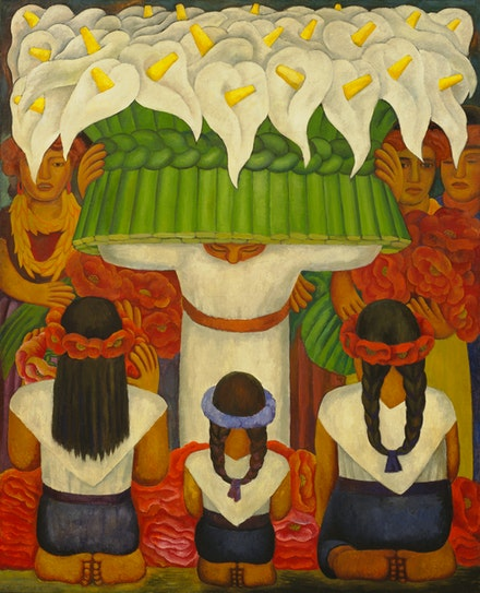 Diego Rivera, <em>Flower Festival: Feast of Santa Anita</em>, 1931. Encaustic on canvas, 78 1/2 × 64 inches. The Museum of Modern Art, New York; gift of Abby Aldrich Rockefeller, 1936. © 2020 Banco de México Diego Rivera Frida Kahlo Museums Trust, Mexico, D.F. / Artists Rights Society (ARS), New York. Image © The Museum of Modern Art/Licensed by SCALA / Art Resource, New York.
