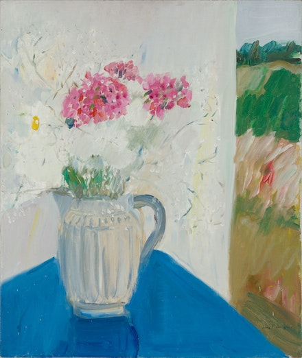 Jane Freilicher, <em>Blue Table</em>, 1966. Oil on linen, 30 x 25 inches. Courtesy the Estate of Jane Freilicher and Kasmin.