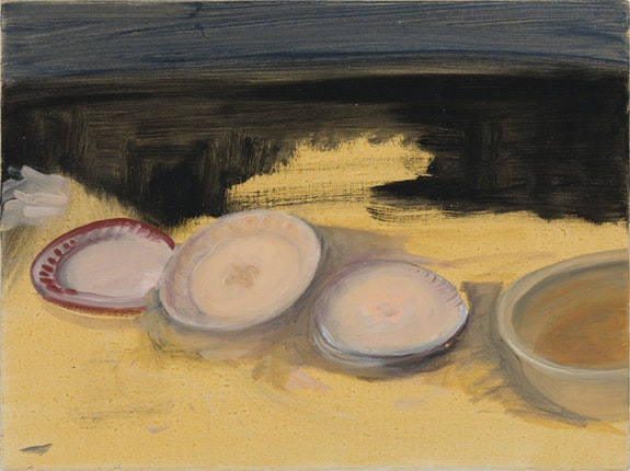 Jane Freilicher, <em>Untitled (Plates with yellow & black)</em>, c. 2005. Oil on linen, 12 x 16 inches. Courtesy the Estate of Jane Freilicher and Kasmin.