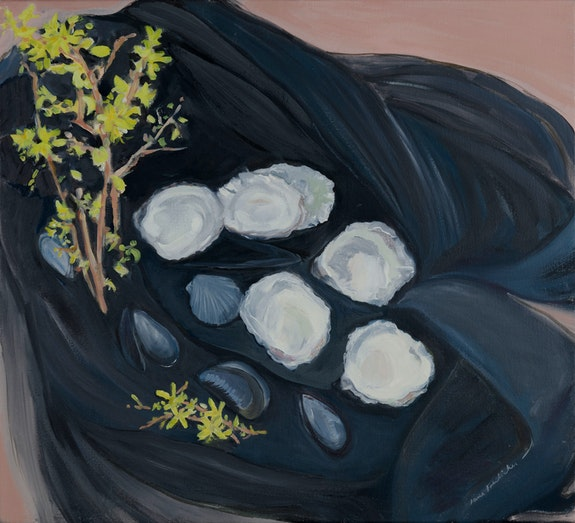 Jane Freilicher, <em>Seashells and Forsythia</em>, 1983. Oil on linen, 20 x 22 inches. Courtesy the Estate of Jane Freilicher and Kasmin.