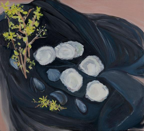 Jane Freilicher, <em>Seashells and Forsythia</em>, 1983. Oil on linen, 20 x 22 inches. Courtesy the Estate of Jane Freilicher and Kasmin.