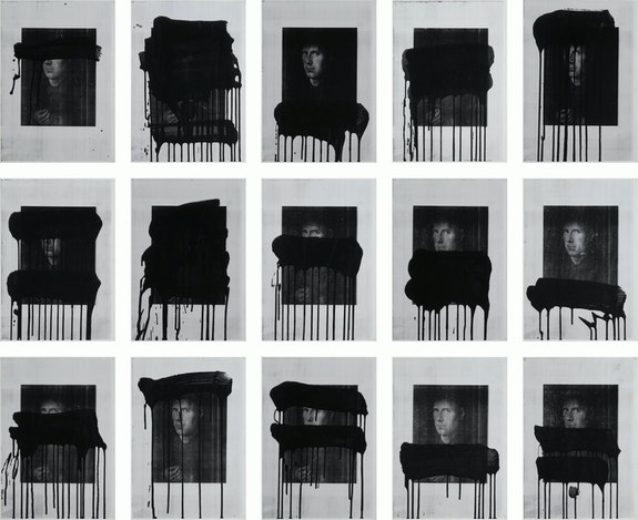 Lindy Lee, <em>Untitled (After Jan Van Eyck)</em>, 1988. Photocopy, synthetic polymer paint on Stonehenge paper mounted on foamcore. Collection of the University of Queensland, gift of Mary Dwyer in memory of Paul Dane Tilley, 1995
