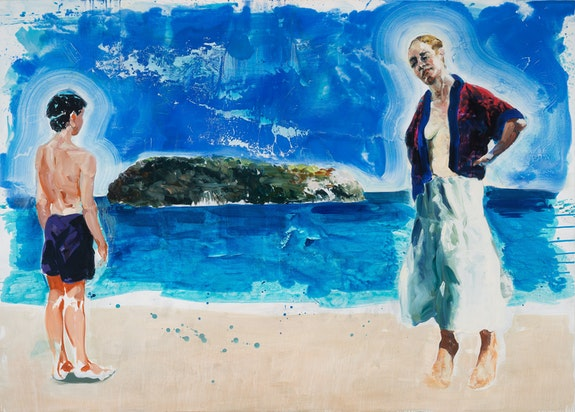 Eric Fischl, <em>Preparing to Swim the Channel</em>, 2020. Acrylic and oil on linen, 68 x 96 inches. © Eric Fischl / Artist Rights Society (ARS), New York. Courtesy of the artist and Skarstedt, New York.