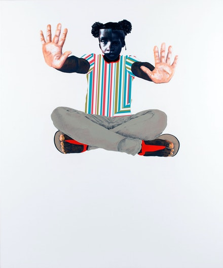 Deborah Roberts, <em>Fighting all the ISM</em>, 2019. Mixed media collage on canvas. 72 x 60 inches. © Deborah Roberts. Courtesy the artist; Vielmetter Los Angeles; and Stephen Friedman Gallery, London. Image courtesy The Contemporary Austin. Photo: Paul Bardagjy.