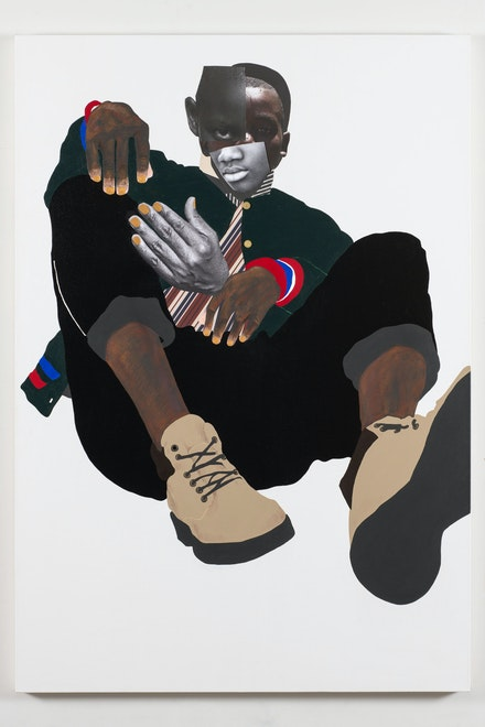 Deborah Roberts, <em>Jamal</em>, 2020. Mixed media collage on canvas. 65 x 45 inches. © Deborah Roberts. Courtesy the artist; Vielmetter Los Angeles; and Stephen Friedman Gallery, London. Image courtesy The Contemporary Austin. Photo: Paul Bardagjy.