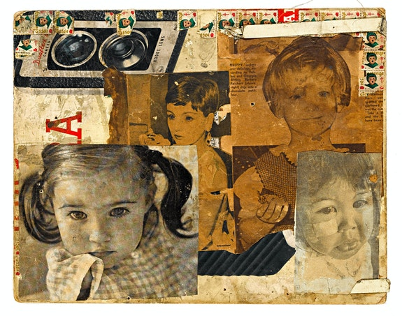 Henry Darger, Untitled, after 1953. Collaged clippings and 1953 Christmas Seal on cardboard, 11 1/4 x 14 1/4 inches. American Folk Art Museum, New York, gift of Kiyoko Lerner. © 2021 Kiyoko Lerner.