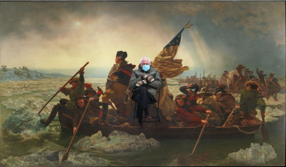 Bernie Sanders from the 2021 Presidential Inauguration superimposed on Emanuel Leutze, <em>Washington Crossing the Delaware</em>, 1851. New York, Metropolitan Museum of Art. Courtesy the author.