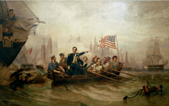 William Henry Powell, <em>Battle of Lake Eerie</em>,  1873. Oil on canvas,  201 1/8 x 319 1/2 inches. U.S. Senate Art Collection, Washington, D.C.