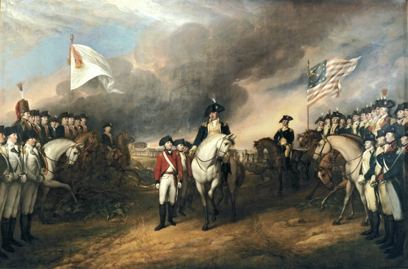 John Trumbull, <em>Surrender of Lord Cornwallis</em>, 1820.  Oil on canvas, 144 x 216 inches. U.S. Capitol building, Washington, D.C.