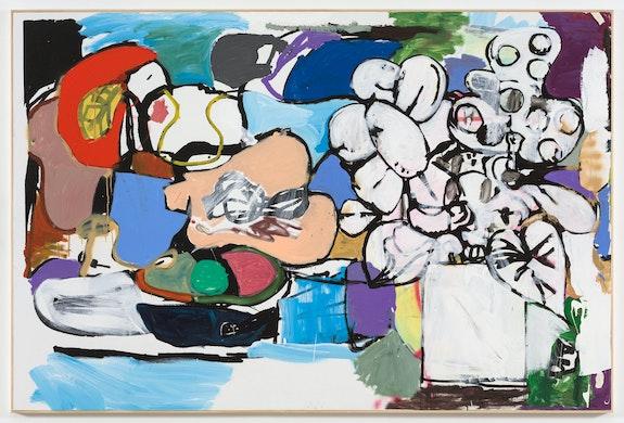 Eddie Martinez, <em>Primary</em>, 2020. Oil on canvas in artist's frame, 72 7/8 x 108 7/8 inches. © Eddie Martinez. Courtesy the artist and Mitchell-Innes & Nash, New York.