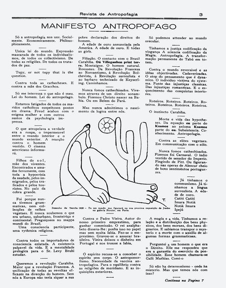 "Oswald de Andrade's ""Manifesto Antropófago"" (""Cannibalist Manifesto"") in <em>Revista de Antropofagia</em> (1928)."