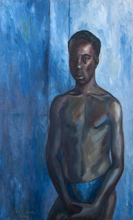 Uche Okeke,<em> Self-Portrait</em>, 1959. Oil on board, 36 5/16 x 23 7/8 inches. Courtesy Skoto Gallery, New York.