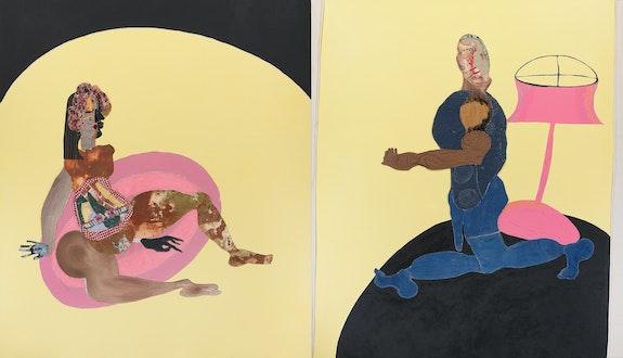 Tschabalala Self, <em>Carpet</em>, 2020. Fabric, pigment, paper, acrylic and painted canvas on canvas. 2 parts, each: 84 x 72 inches. © Tschabalala Self. Courtesy the artist and Galerie Eva Presenhuber, Zurich / New York. ?Photo: Matt Grubb.